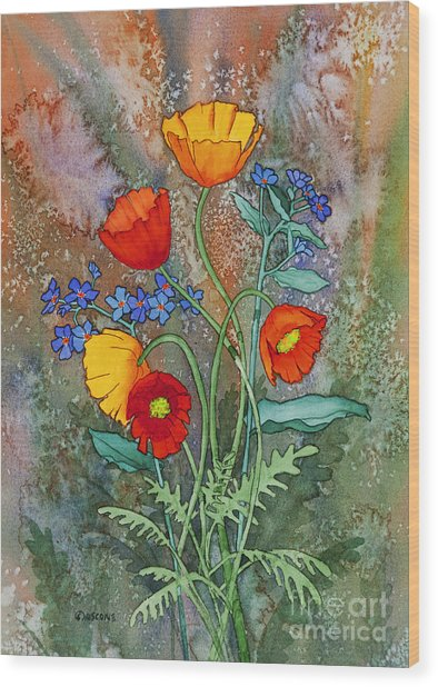 Alaska Poppies And Forgetmenots Wood Print