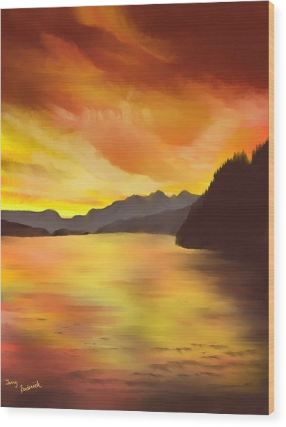 Alaska Sunset Wood Print