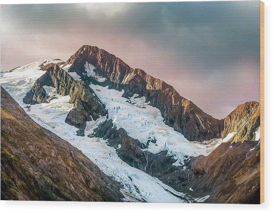 Alaskan Mountain Glacier Wood Print