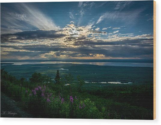 Alaskan Summer Sunset Wood Print