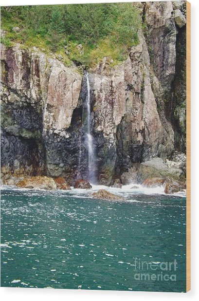 Alaskan Waterfall In The Spring Wood Print