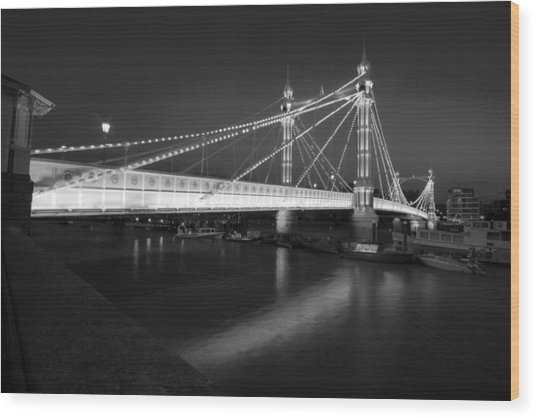 Albert Bridge At Night  Wood Print