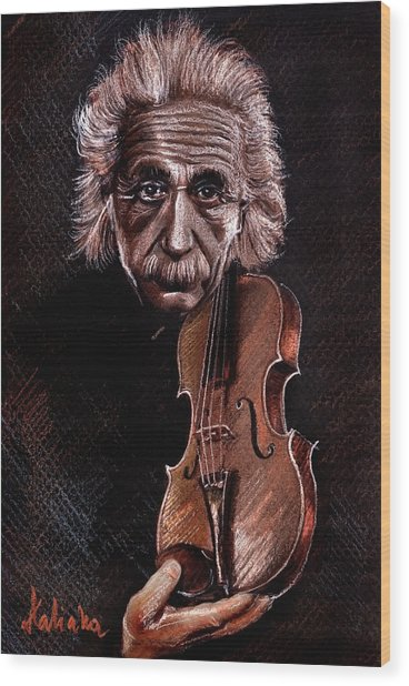 Albert Einstein And Violin Wood Print