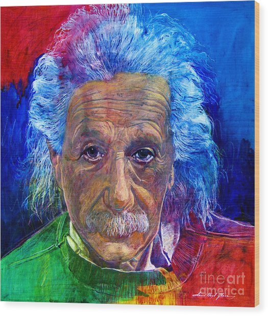 Albert Einstein Wood Print by David Lloyd Glover
