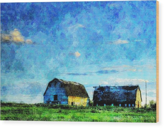 Alberta Barn At Sunset Wood Print