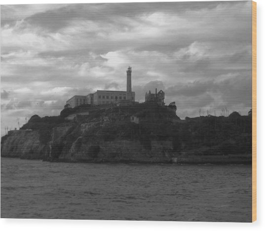 Alcatraz Island B N W Wood Print
