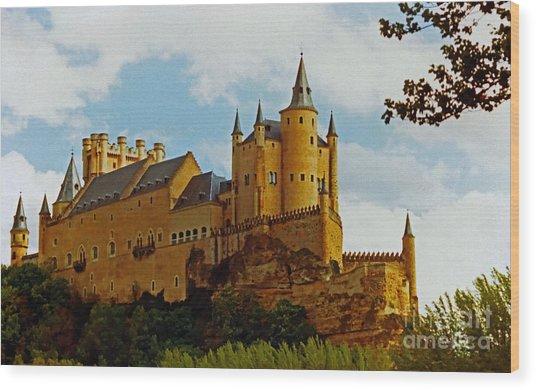 Alcazar Castle In Segovia Spain Wood Print