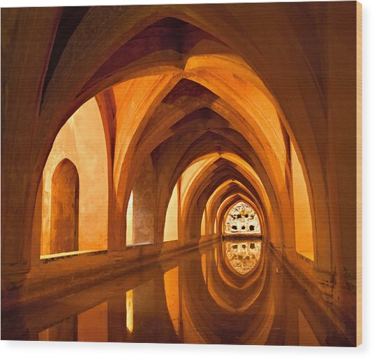 Alcazar Cave Galleries Seville Wood Print by Viacheslav Savitskiy