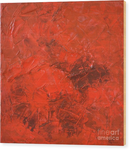 Alchemy In Red - Red Abstract By Chakramoon Wood Print by Belinda Capol