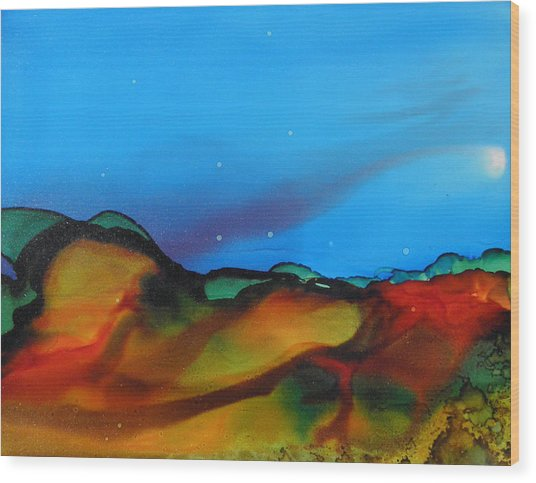 Alcohol Ink Landscape # 134 Wood Print