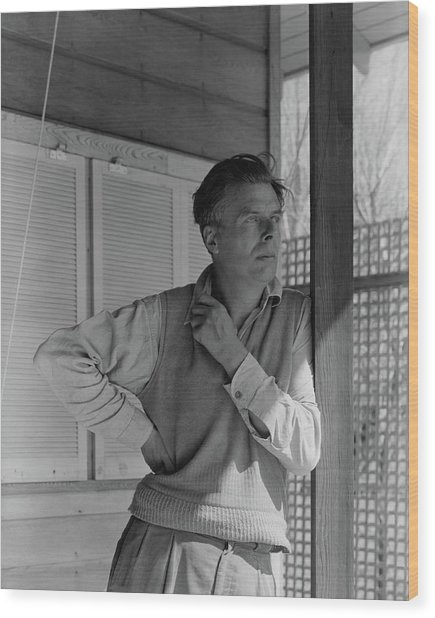 Aldous Huxley On A Porch Wood Print