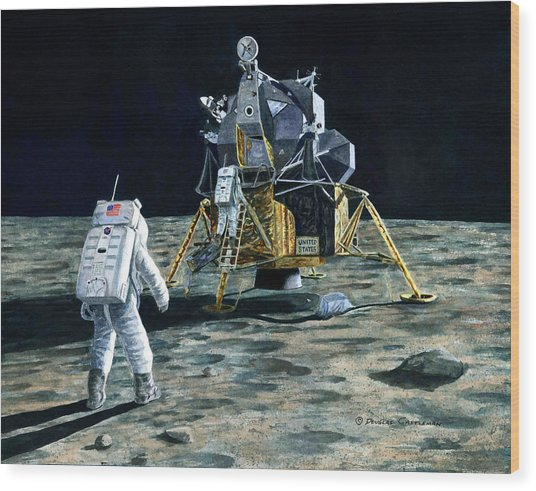 Aldrin Joins Armstrong Wood Print