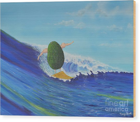 Alex The Surfing Avocado Wood Print