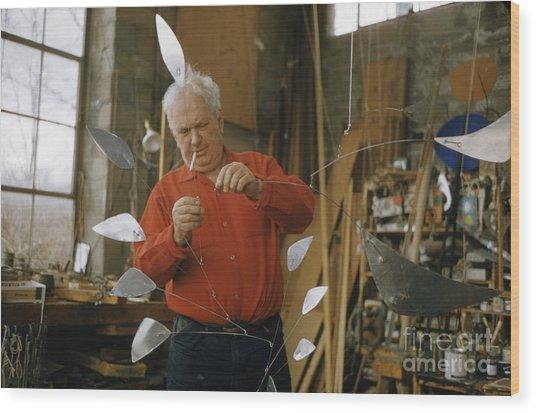 Alexander Calder In His Studio 1958 Wood Print