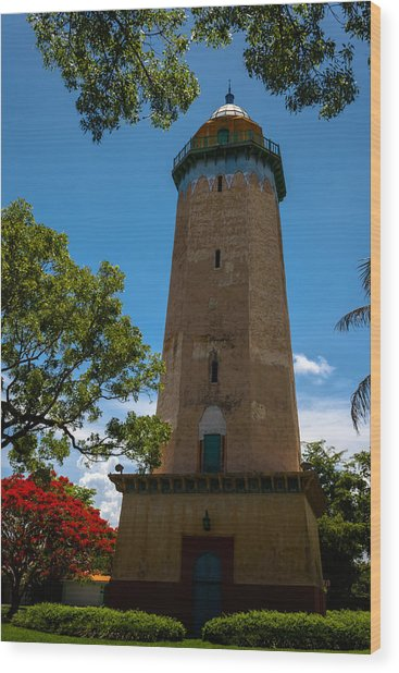 Alhambra Water Tower Of Coral Gables Wood Print