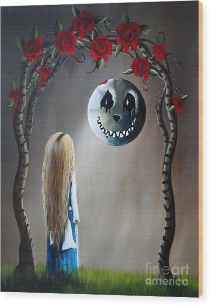 Alice In Wonderland Original Artwork - Alice And The Beautiful Nightmare Wood Print