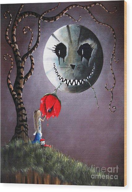 Alice In Wonderland Original Artwork - Alice And The Dripping Rose Wood Print