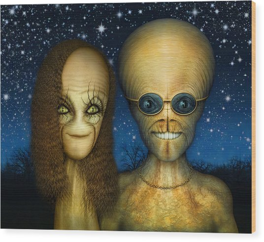 Alien Couple Wood Print