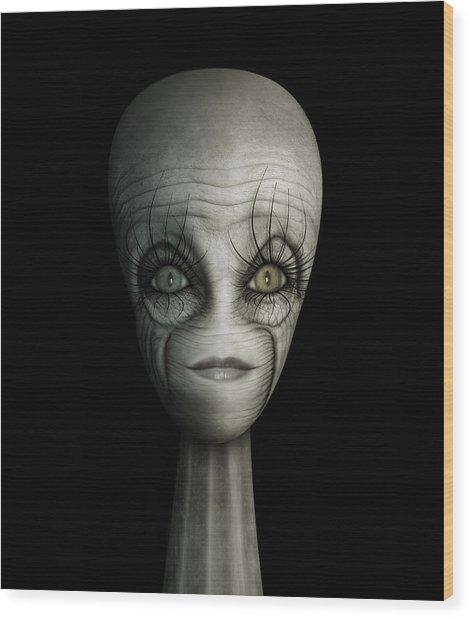 Alien Face Wood Print