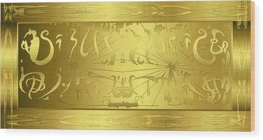 Alien Gold Symphony Wood Print