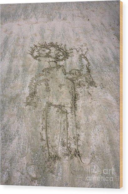 Alien On The Beach Wood Print