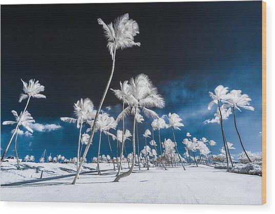 Alien Palm Trees Wood Print
