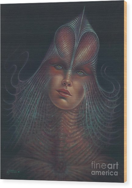 Alien Portrait Il Wood Print
