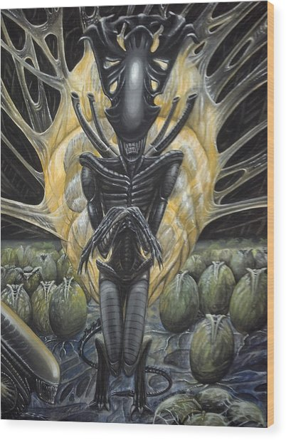 Wood Print featuring the painting Alien Queen And Her Hive by Jennifer Hotai