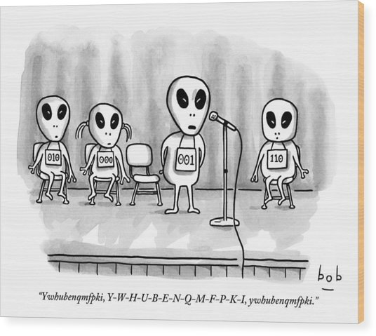 Aliens Participating In A Spelling Bee Wood Print
