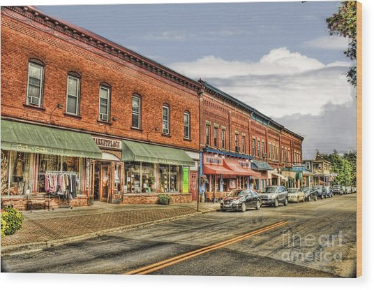 All Along Main Street Wood Print