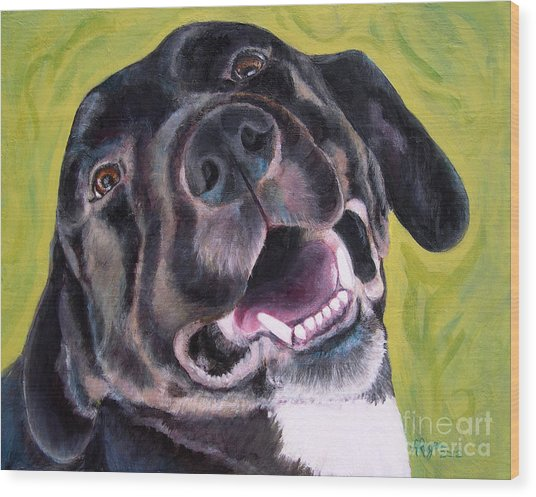 All Smiles Black Dog Wood Print