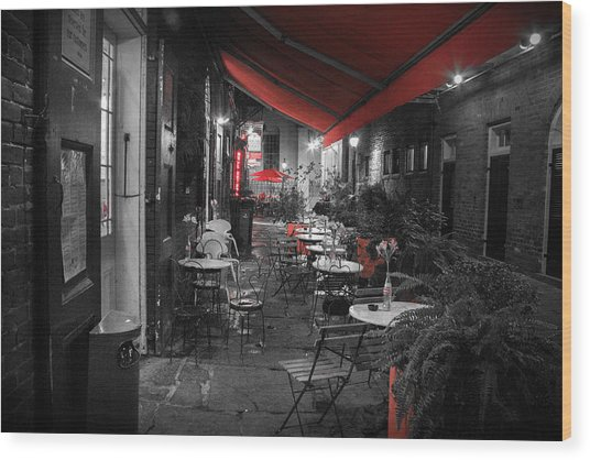 Alley Cafe Wood Print