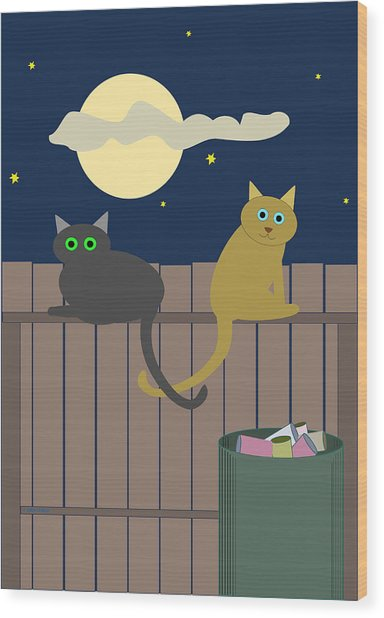Alley Cats On A Fence Wood Print