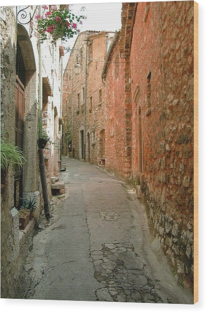 Alley In Tourrette-sur-loup Wood Print