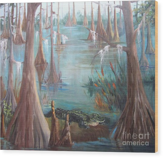Alligator Bayou Wood Print