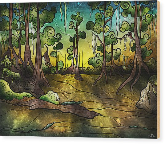 Alligator Swamp Wood Print