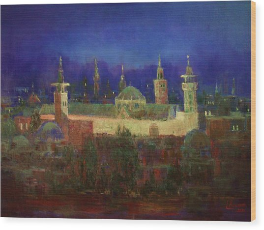 Almasjed Alamawe At Night - Damascus - Syria Wood Print
