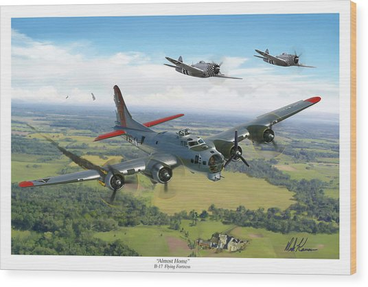 Almost Home  B-17 Flying Fortress Wood Print by Mark Karvon