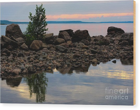 Almost Sunset At Awenda Beach Wood Print