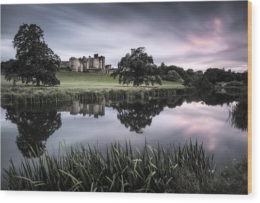 Alnwick Castle Sunset Wood Print