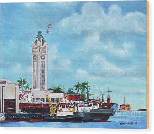 Aloha Tower Wood Print
