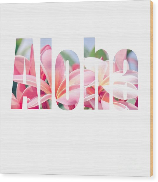 Aloha Tropical Plumeria Typography Wood Print