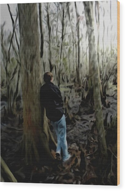 Alone In His Thoughts Wood Print