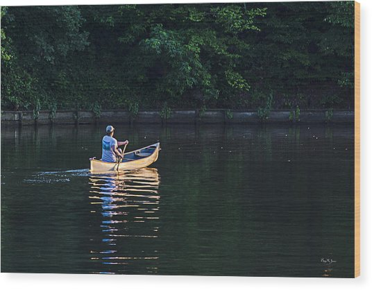 Alone On The Lake Wood Print by Barry Jones