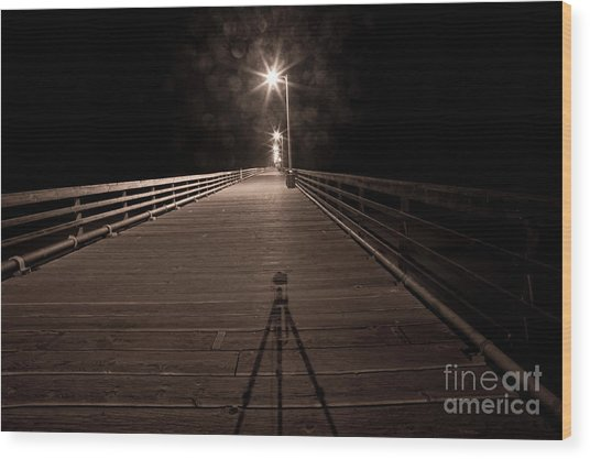 Alone On The Pier Wood Print by Ronald Hoggard
