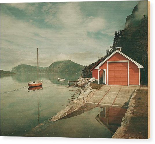 Along The Fjord Wood Print