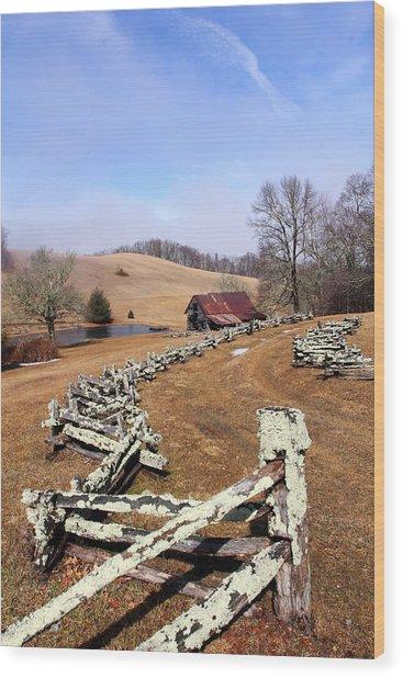 Along The Locust Rails Wood Print