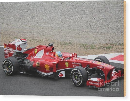 Alonso In His Ferrari Wood Print