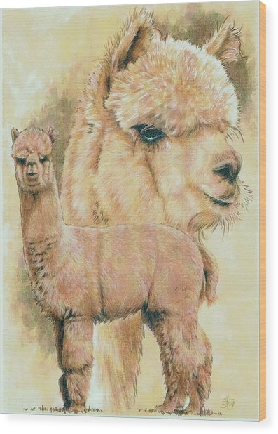 Wood Print featuring the mixed media Alpaca by Barbara Keith