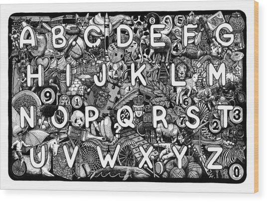 Alphabet Soup Wood Print